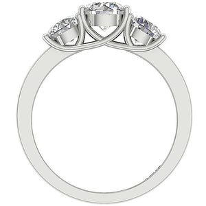 Designer Three Stone Wedding Ring I1 G 1.80 Carat Natural Diamond Prong Set 14k White Gold 5.65MM