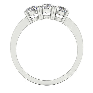 14k White Gold Three Stone Anniversary Ring SI1 G 0.70 Ct Natural Round Diamond Prong Set 4.00MM