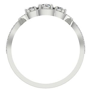 Front View Round Diamond White Gold Ring-DTR150 TR-133-6