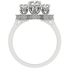 Load image into Gallery viewer, 3 Stone Wedding White Gold Ladis Ring Front View-DTR156-7
