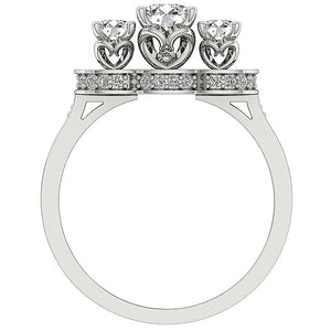 3 Stone Wedding White Gold Ladis Ring Front View-DTR156-7