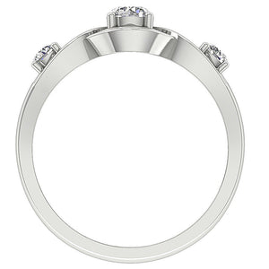 Front View Natural Diamond White Gold Ring-DTR159-TR-165-4