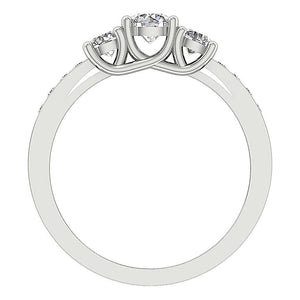 Natural Diamond 14K White Gold Ring Front View-DTR30-TR-101-5