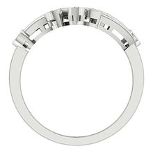 Load image into Gallery viewer, Right Hand Designer Anniversary Ring VS1 E 0.40 Ct Round Diamond 14k White Gold Bezel Set 19.30MM