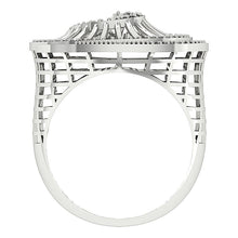 Load image into Gallery viewer, Right Hand Designer Unique Ring Natural Round Diamond I1 G 0.55Ct 14k White Gold Prong Set 19.00MM