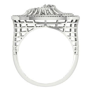 Right Hand Designer Unique Ring Natural Round Diamond I1 G 0.55Ct 14k White Gold Prong Set 19.00MM
