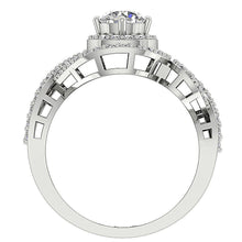 Load image into Gallery viewer, 14K Gold Round Diamond Halo Solitaire Ring Front View-SR-1040-5