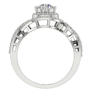 14K Gold Round Diamond Halo Solitaire Ring Front View-SR-1040-5