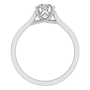 Front View Natural Diamond White Gold Ring-SR-1105-4