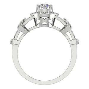Genuine Diamond 14K Gold Engagement Ring Front View-SR-1187-4