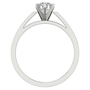 Six Prong Natural Diamond White Gold Ring Front View-SR 766-0.80-4