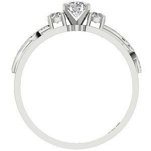 Front View Genuine Diamond White Gold Ring-TR-125-5