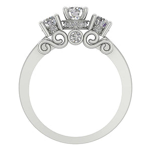 14K White Gold Designer Three Stone Wedding Ring Real Diamond SI1 G 1.25Ct Prong & Bezel Set 6.00MM