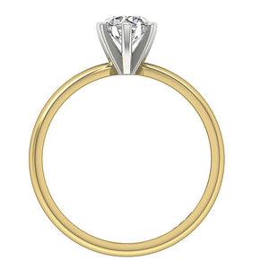 Round Cut Diamond Gold Ring Front View-DSR155-SR-23C-3