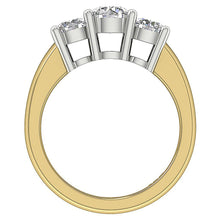 Load image into Gallery viewer, Yellow Gold Round Cut Diamond Ring Front View-DTR17-TR-107-3