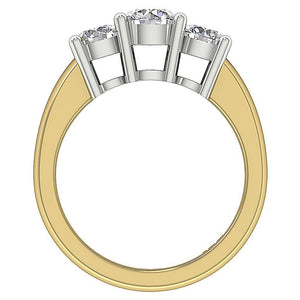 Yellow Gold Round Cut Diamond Ring Front View-DTR17-TR-107-3