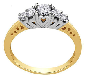 Front View Diamond Yellow Gold Ring-FR59