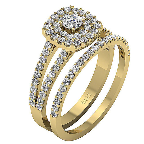 Double Halo Round Diamond Ring Side View-CR-190A