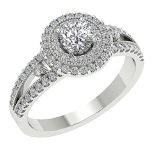 Load image into Gallery viewer, Accent Solitaire Anniversary Round Cut Diamond Ring 14k Solid Gold SI1 G 1.20 Ct