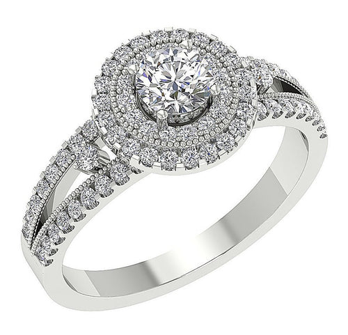 Double Halo Solitaire Ring-DSR649