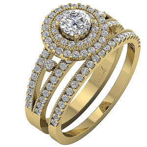 Double Halo Milgrain Wdding Ring Round Cut Diamond I1 G 1.40 Carat
