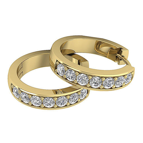 14k Yellow Gold Natural Diamond Small Hoops Earring
