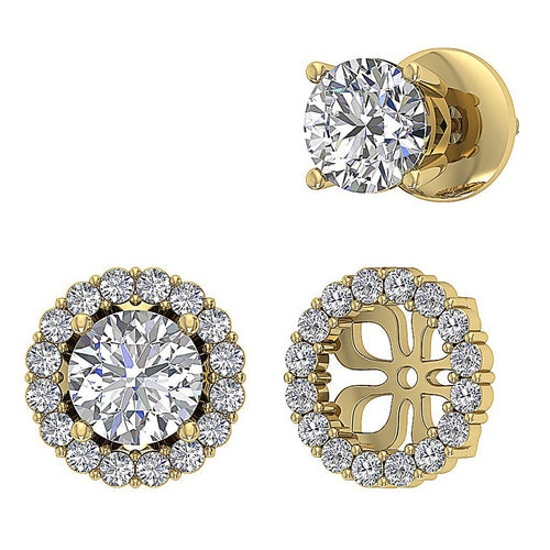 Genuine Diamond Earring Prong Set 14k Gold