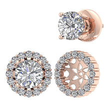 Load image into Gallery viewer, Round Diamond Earring Prong Set 14k Gold