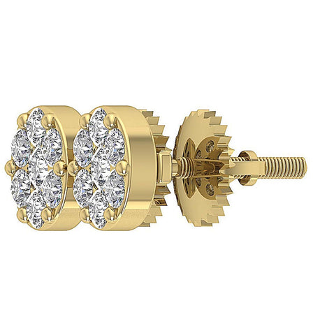 14k Gold Genuine Diamond Earring Prong Set
