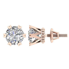 Load image into Gallery viewer, Prong Earring Set Genuine Diamond 14k Gold