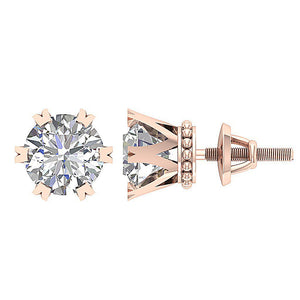 Prong Earring Set Genuine Diamond 14k Gold