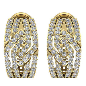 14k Solid Gold Round Diamond Earring Set