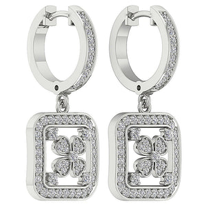 14k White Gold Designer Dangle Earring Set