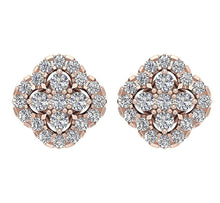 Load image into Gallery viewer, 14k Solid Gold Round Diamond Earring Set