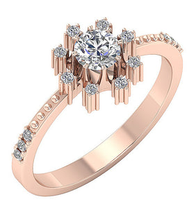 Earthmined Diamond Ring Solitaire Rose Gold Ring-DSR646