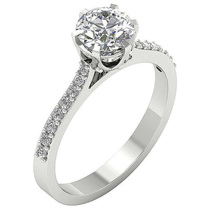 Earthmined Natural Diamond Engagement Ring Prong Set-DSR472