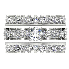 Load image into Gallery viewer, 14k White Gold Eternity Bridal Ring Set Top View-CR-194