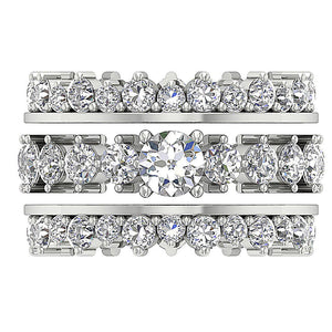 14k White Gold Eternity Bridal Ring Set Top View-CR-194