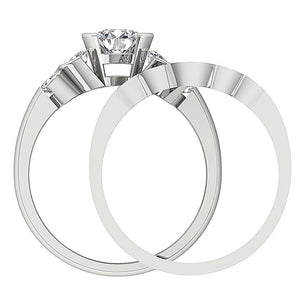 Genuine Diamond Bridal Ring Set Front View