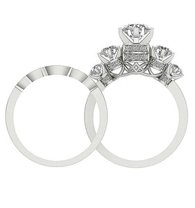 Natural Diamond Bridal Ring Set Front View