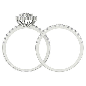 Round Diamond Bridal Ring Set Front View