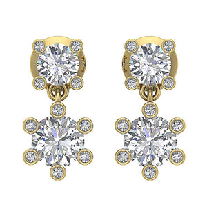 Designer Earring Set 14k Yellow Gold Front View