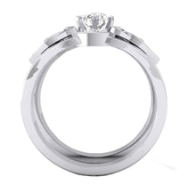 Load image into Gallery viewer, 14K White Gold Bridal Ring Set Front View