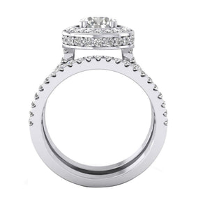 14k White Gold Front View Bridal Engagement Ring Set
