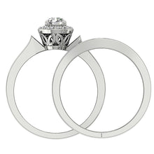 Load image into Gallery viewer, Genuine Diamond Bridal Ring Set Front View