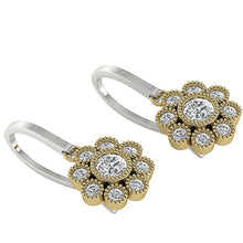 Load image into Gallery viewer, Natural Round Cut Diamonds Two-Tone Gold (White+Yellow) Earrings-DE108