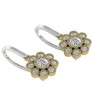 Natural Round Cut Diamonds Two-Tone Gold (White+Yellow) Earrings-DE108