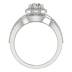 Designer Split Shank Halo Wedding Ring SI1 G 1.70 Carat Natural Diamond