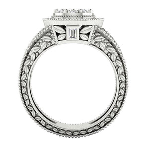 Front View Solitaire Halo Designer Engagement Natural Ring-SR-1089