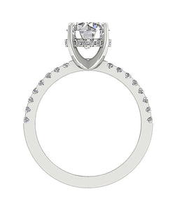 Accent Solitaire Engagement Round Natural Diamond Ring 14k Solid Gold  I1 G 1.90 Ct